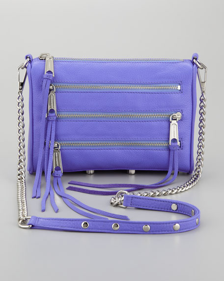 Mini 5-Zip Crossbody Bag, Perwinkle