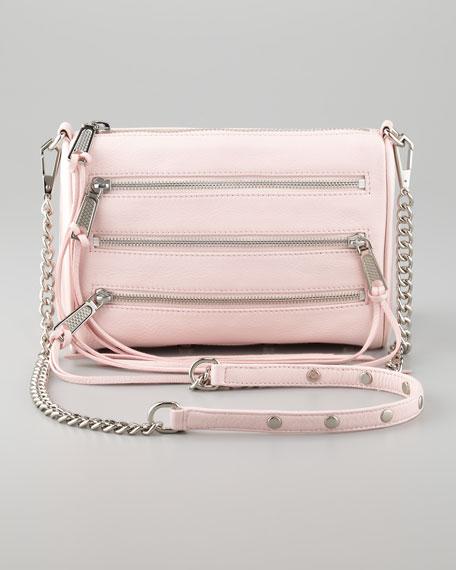 Zip-Front Leather Crossbody Bag, Petal Pink