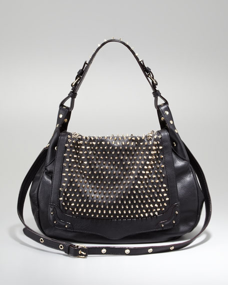 Moonstruck Studded Hobo Bag, Black