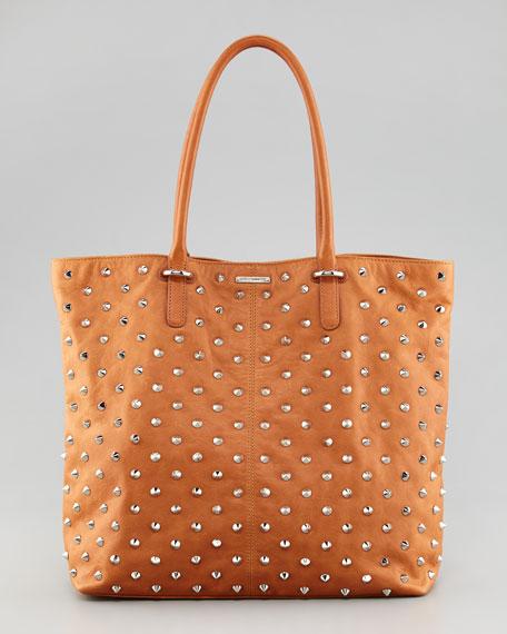 Spike-Stud Tote Bag, Almond