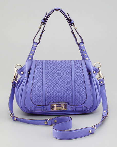 Endless Love Box Woven Leather Satchel, Periwinkle