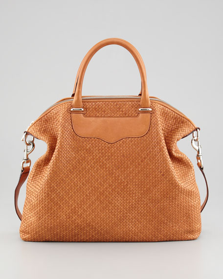 Bonnie Box Woven Leather Satchel Bag, Almond
