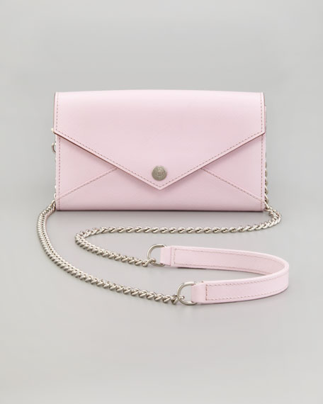 Saffiano Wallet-on-a-Chain Bag, Petal Pink