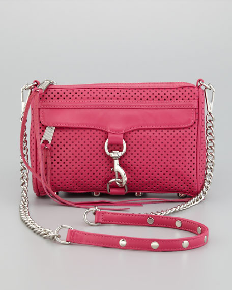 M.A.C. Perforated Clutch Crossbody Bag, Poppy Pink