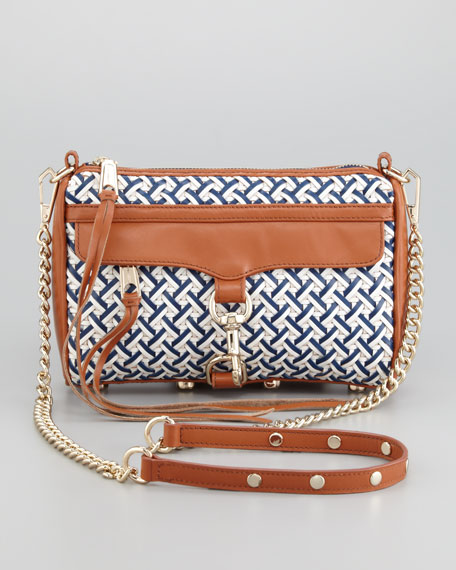 Mini M.A.C. Woven Leather Crossbody Bag, Navy/White/Camel