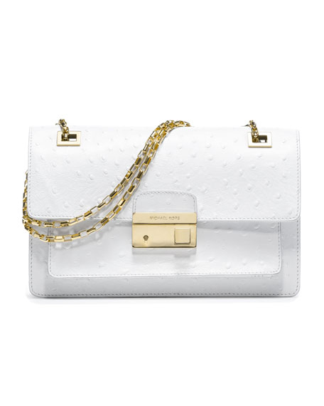 Gia Ostrich-Embossed Shoulder Flap Bag