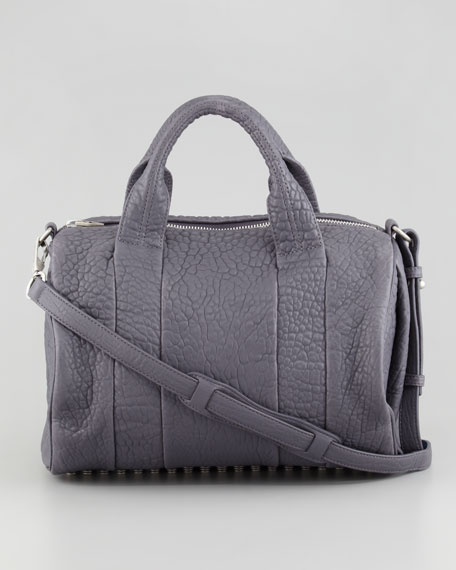 Rocco Stud-Bottom Satchel Duffel Bag, Tundra/Silver