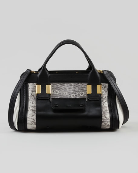 Alice Small Satchel Bag, Black/White