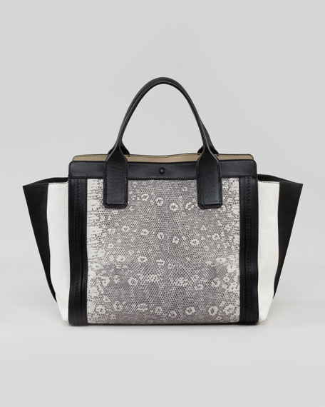Alison Mini East-West Colorblock Tote Bag, White/Black