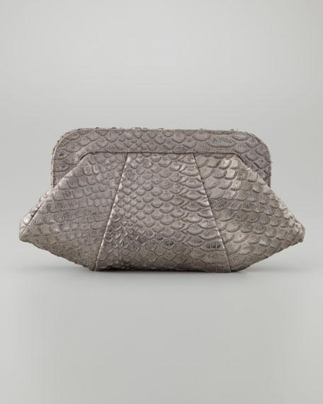 Tatum Metallic Dusted Python Clutch Bag, Gray