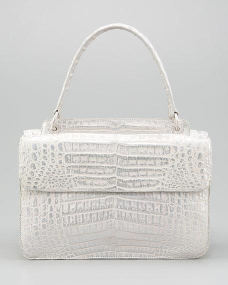 Flap-Front Crocodile Satchel Bag