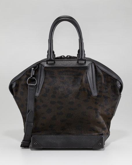 Emile Leopard-Print Calf Hair Satchel Bag