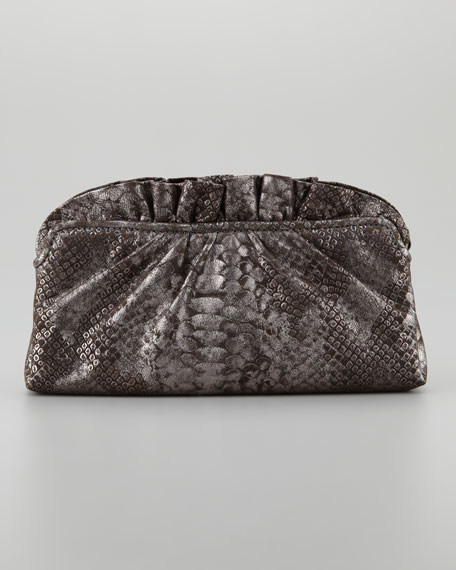 Georgie Python-Embossed Ruffle-Top Clutch Bag, Brown/Pewter