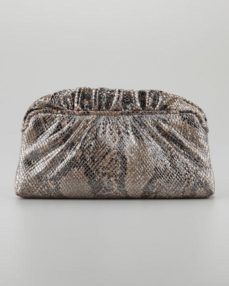 Georgie Cobra Metallic Ruffle-Top Clutch Bag, Natural/Black