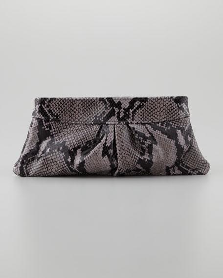 Eve Shiny Python Clutch Bag, Gray/Black