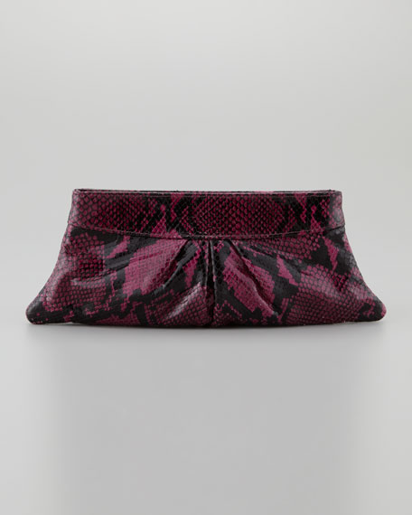 Eve Shiny Python Clutch Bag, Amethyst/Black