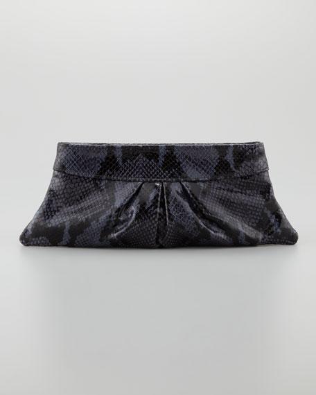 Eve Shiny Python Clutch Bag, Navy/Black