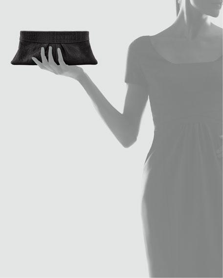 Eve Snake-Embossed Clutch Bag, Black