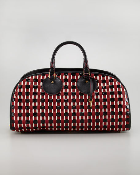 Toshi Woven Leather Bowler Bag, Red/White/Black