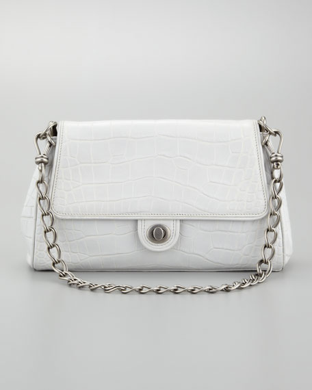 Chain Link Embossed Leather Shoulder Bag, Light