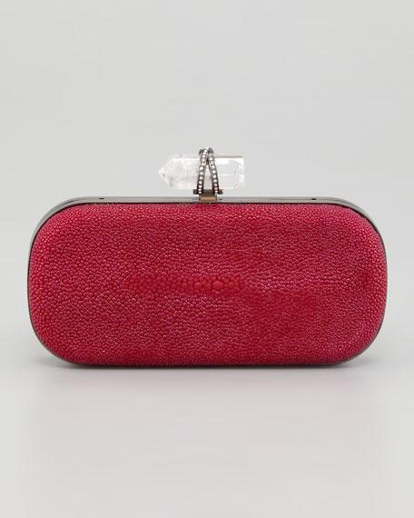 Lily Medium Stingray Box Clutch, Pink