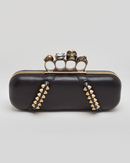 Studded Long Knuckle Box Clutch Bag, Black