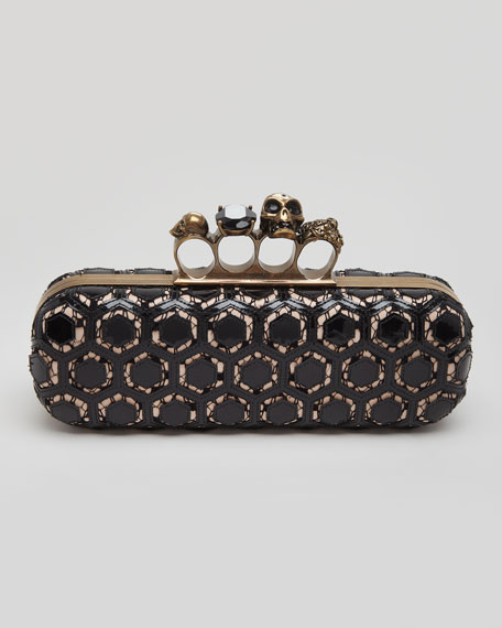 Long Honeycomb-Pattern Knuckle Box Clutch, Black