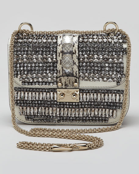 Small Glam Crystal-Covered Lock Crossbody Bag