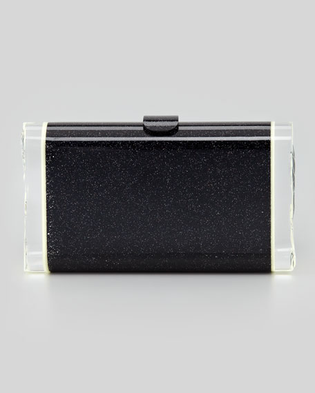 Lara Glitter Clutch Bag, Black
