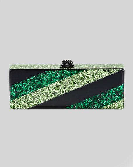 Flavia Striped Confetti Clutch Bag, Green