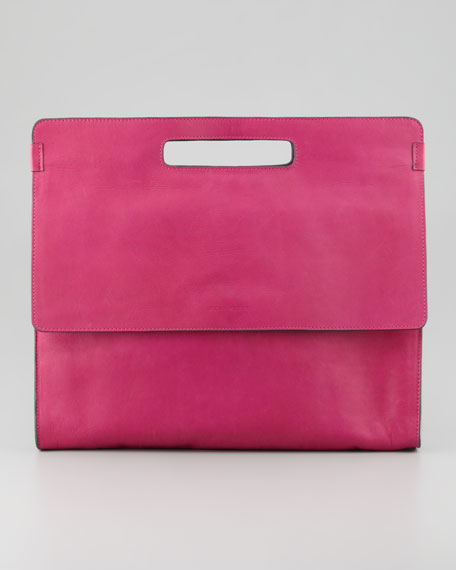 Yves Oversized iPad Clutch Bag, Fuchsia