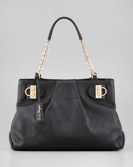 W Chain Tote Bag, Black