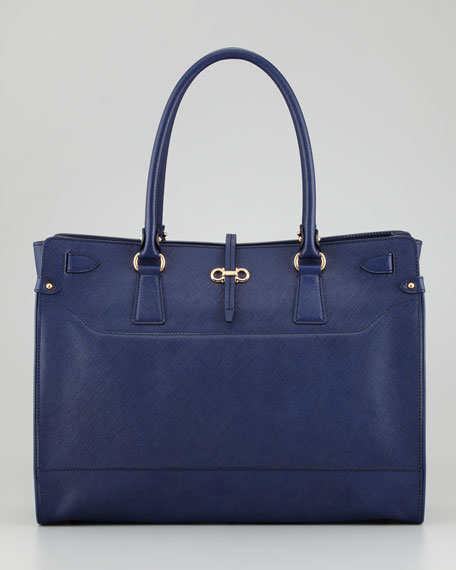 Briana Large Leather Tote Bag, Navy