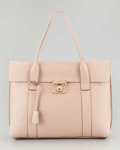 Sookie Large Flap-Front Satchel Bag, Soft Beige