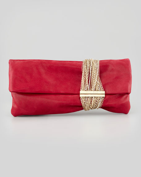 Chandra Shimmery Chain Clutch Bag, Pink