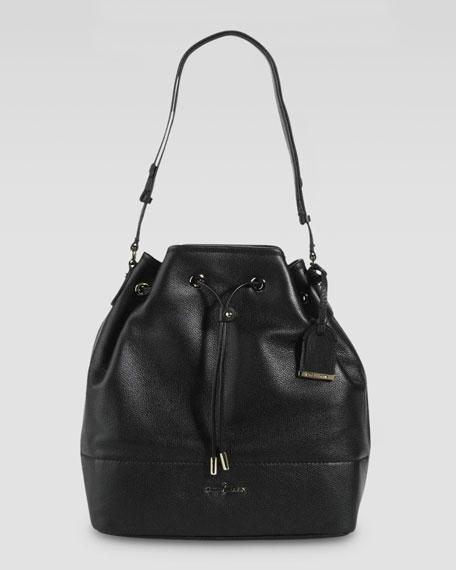 Linley Leather Drawstring Bag, Black