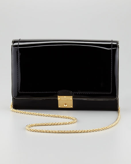 1984 Patent Leather All in One Clutch Bag, Black