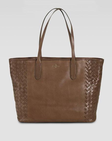 Victoria Woven-Side Tote Bag, Tan