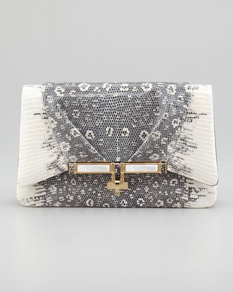 Priscilla Lizard Clutch Bag, Gray