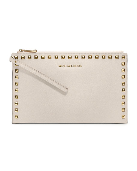 Large Selma Stud-Trim Saffiano Clutch