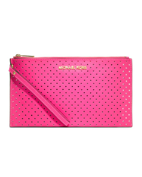 Large Jet Set Perforated Zip Clutch