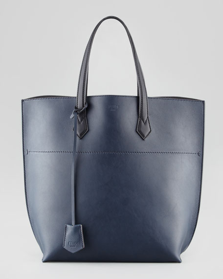 Fendi Leather Shopping Tote Bag, Navy/Black