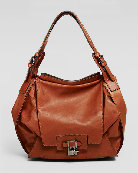 Valerie Flap-Front Hobo Bag, Cinnamon