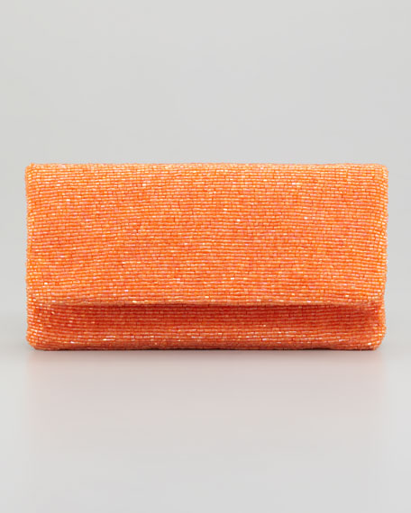 Beaded Flap-Top Clutch Bag, Orange