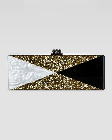 Flavia Ribbon Clutch, Gold/White/Black
