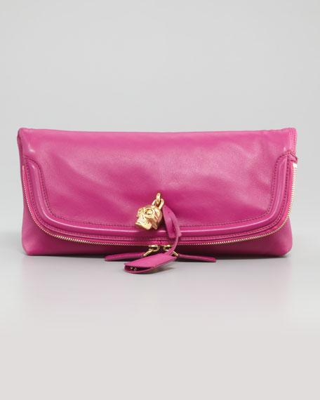 Skull Padlock Fold-Over Clutch Bag, Pink