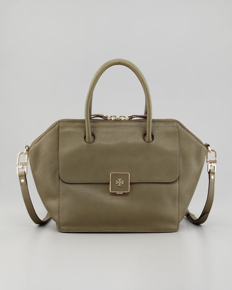 Clara Leather Satchel Bag, Green