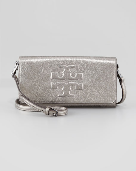 Thea Bombe Metallic Crossbody Clutch Bag, Gunmetal