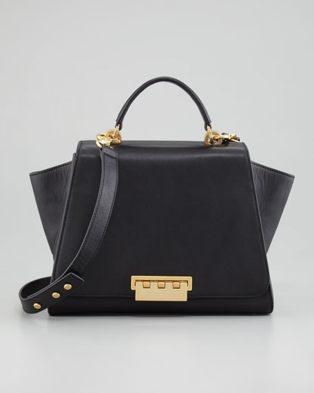 Eartha Full-Flap Satchel Bag, Black