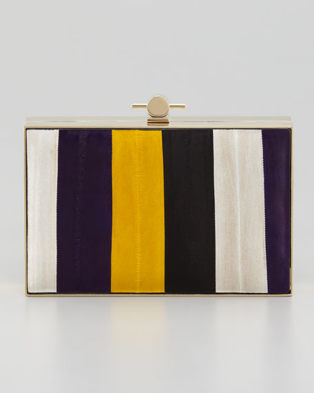 Karlie Eel Book Box Clutch Bag, Gold/Violet